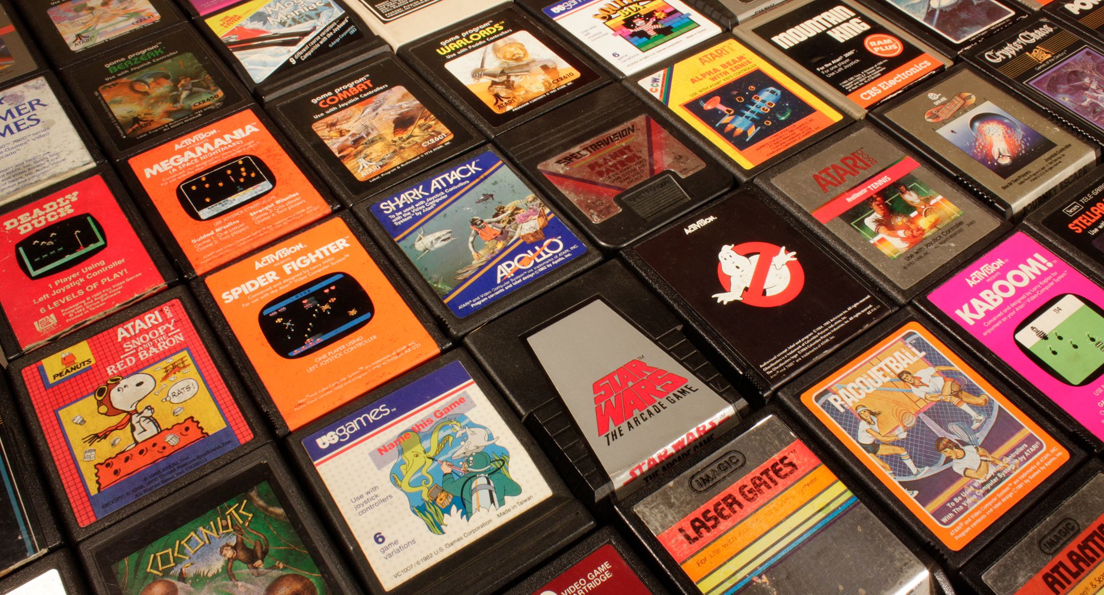 rows of atari cartridges laid end to end and side to side