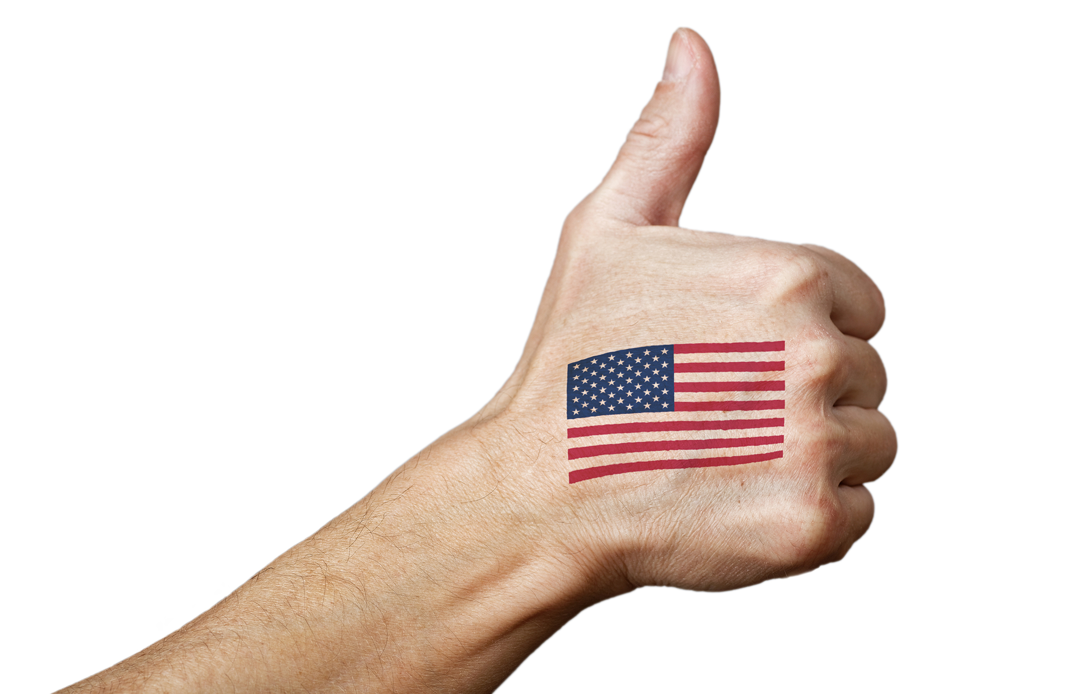 white person's hand giving a thumbs up against a white background with an american flag tattooed on the hand