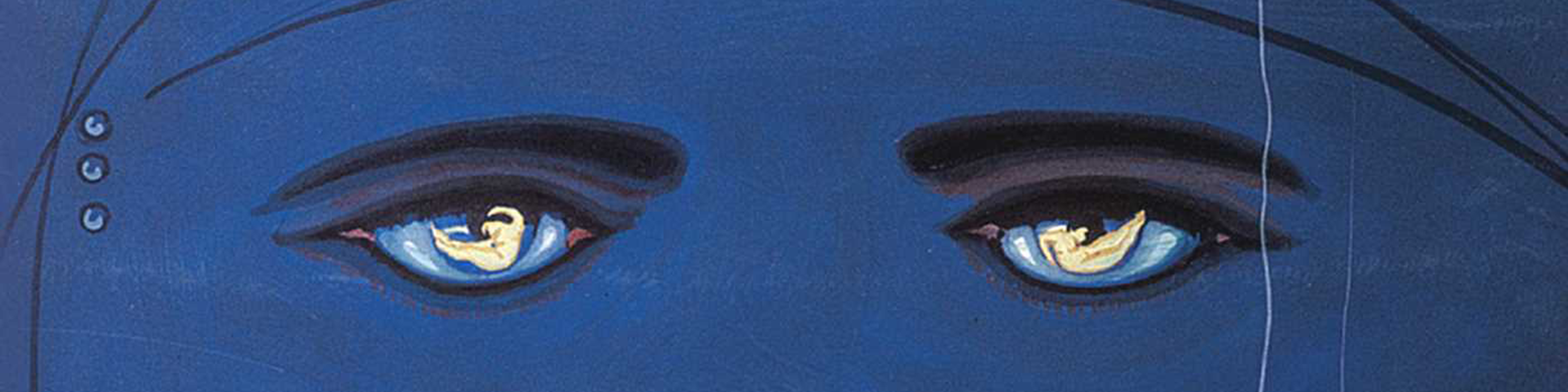 Detail of the cover of the novel The Great Gatsby showing a set of female eyes against a blue background