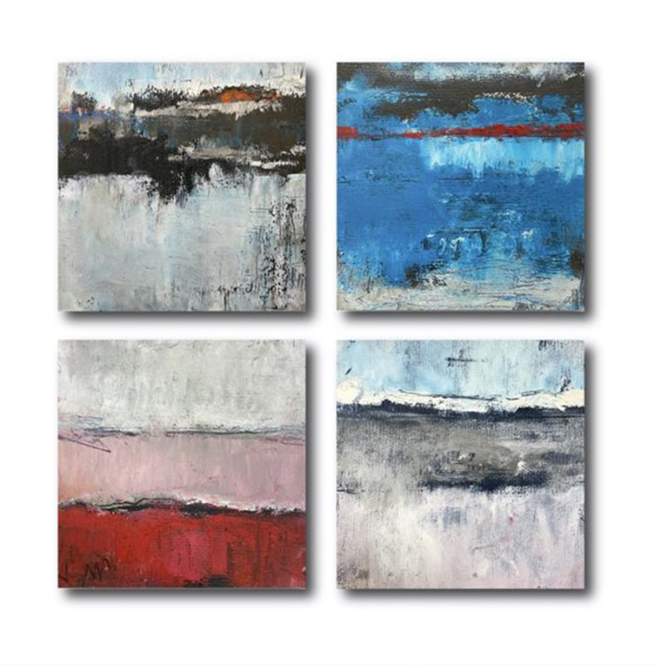 Grid of four square paintings, two by two, in various colors: white, blue, red, pink