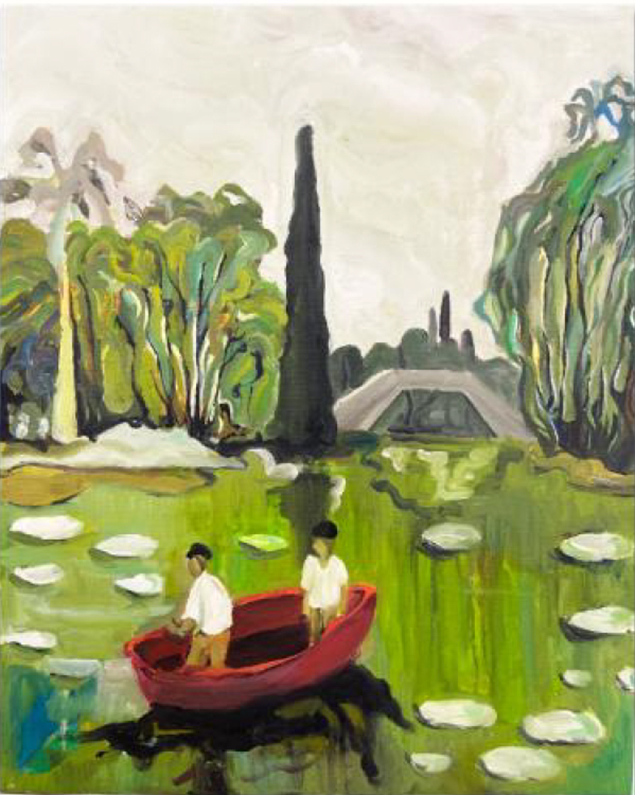 Painting of two people in a small boat on a pond covered in lily pads and the water reflecting the greenery around it