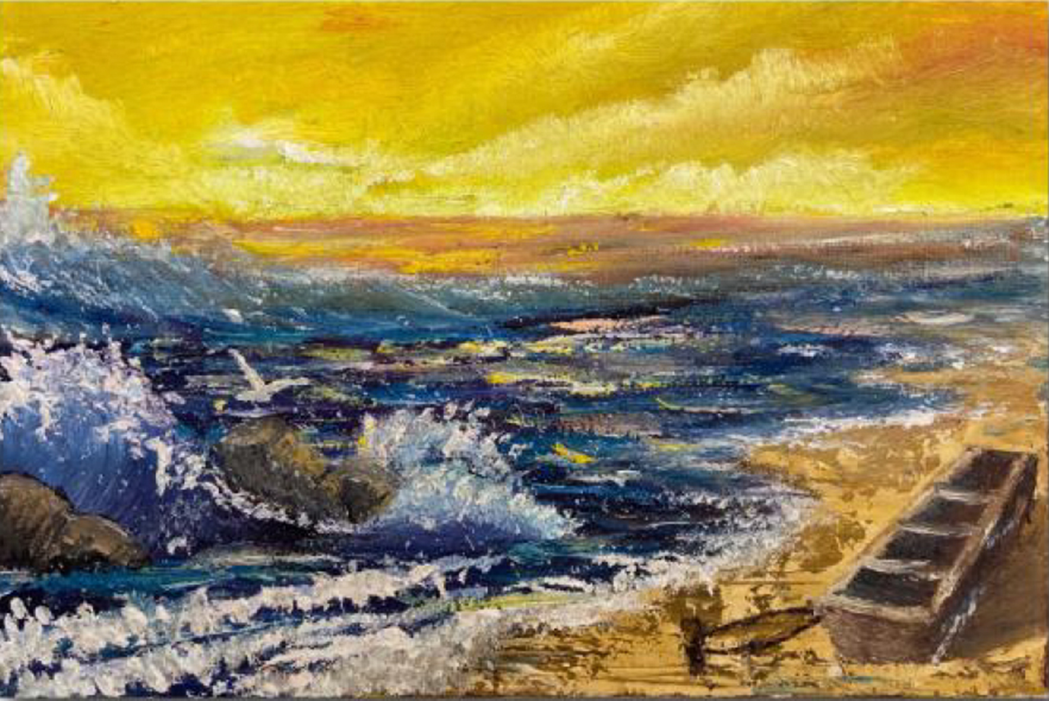 Painting of a beach with waves crashing in from the left