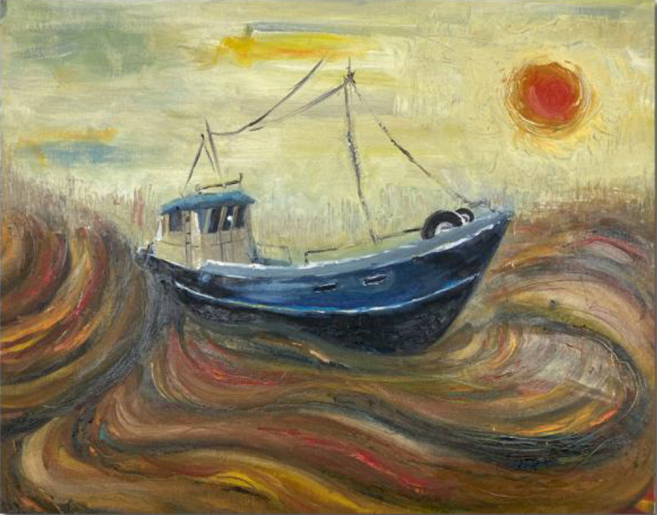 Painting in the style of Vincent Van Gogh of a boat on brown and orange water with the orange sun setting