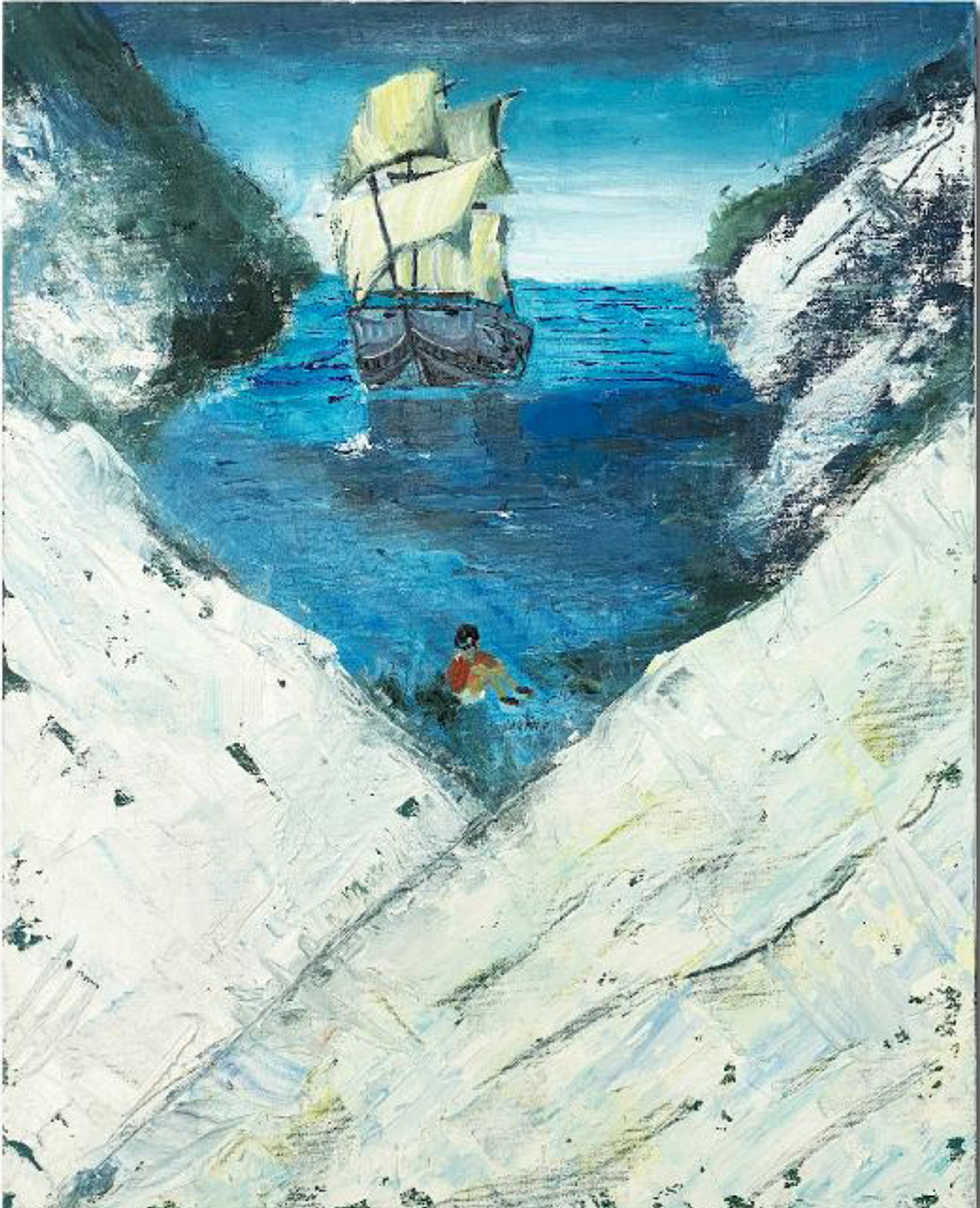 Painting of an old clipper-style boat in the mouth of a bay formed by icy mountains with a small figure at the shore