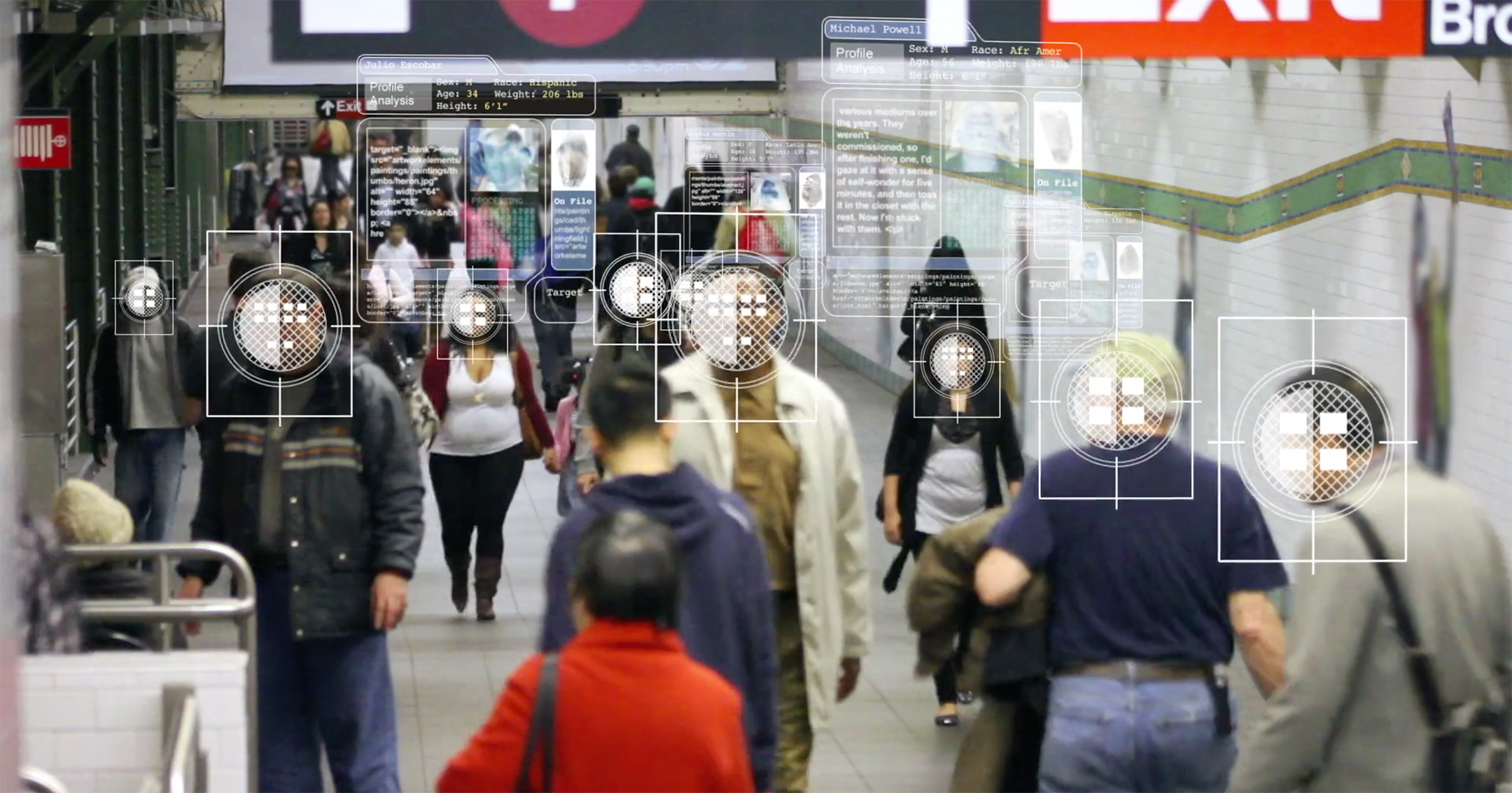 An image showing people walking through a New York City subway station with graphic elements representing data collection overlaid on top of them