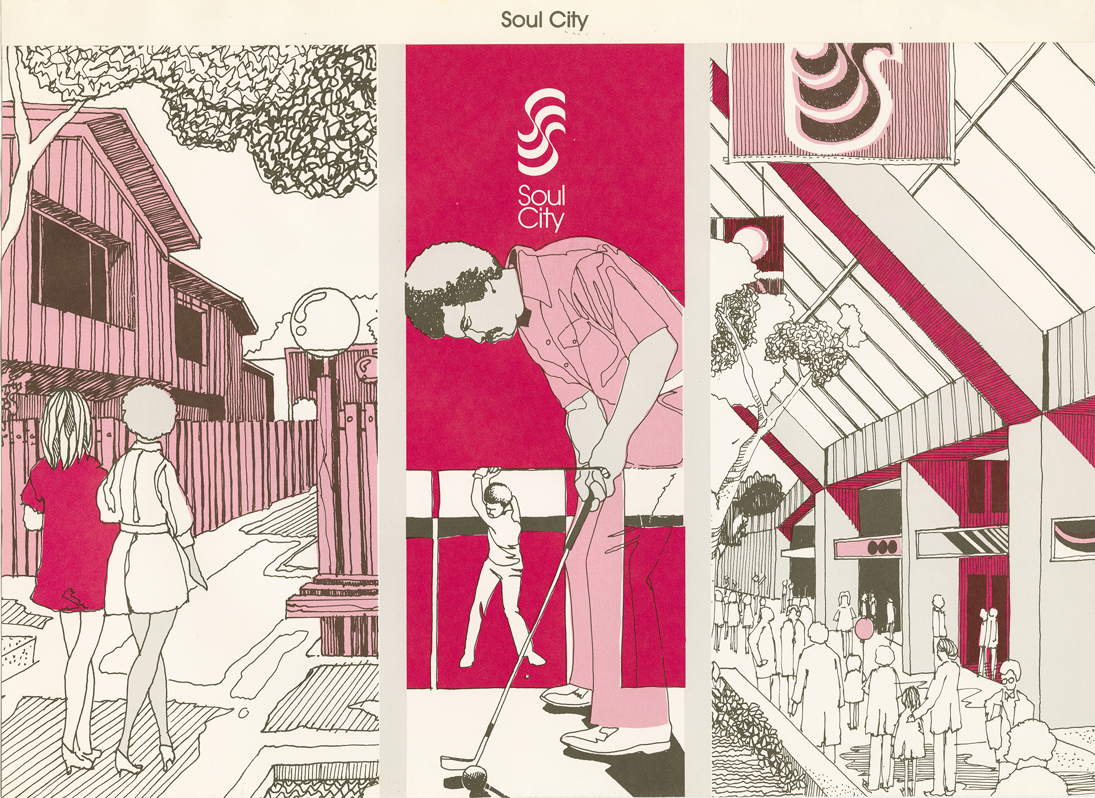 Illustration from the 1970s in pink and white and red promoting Soul City by showing an outdoor market on the left, men golfing in the center, and an indoor shopping mall on the right