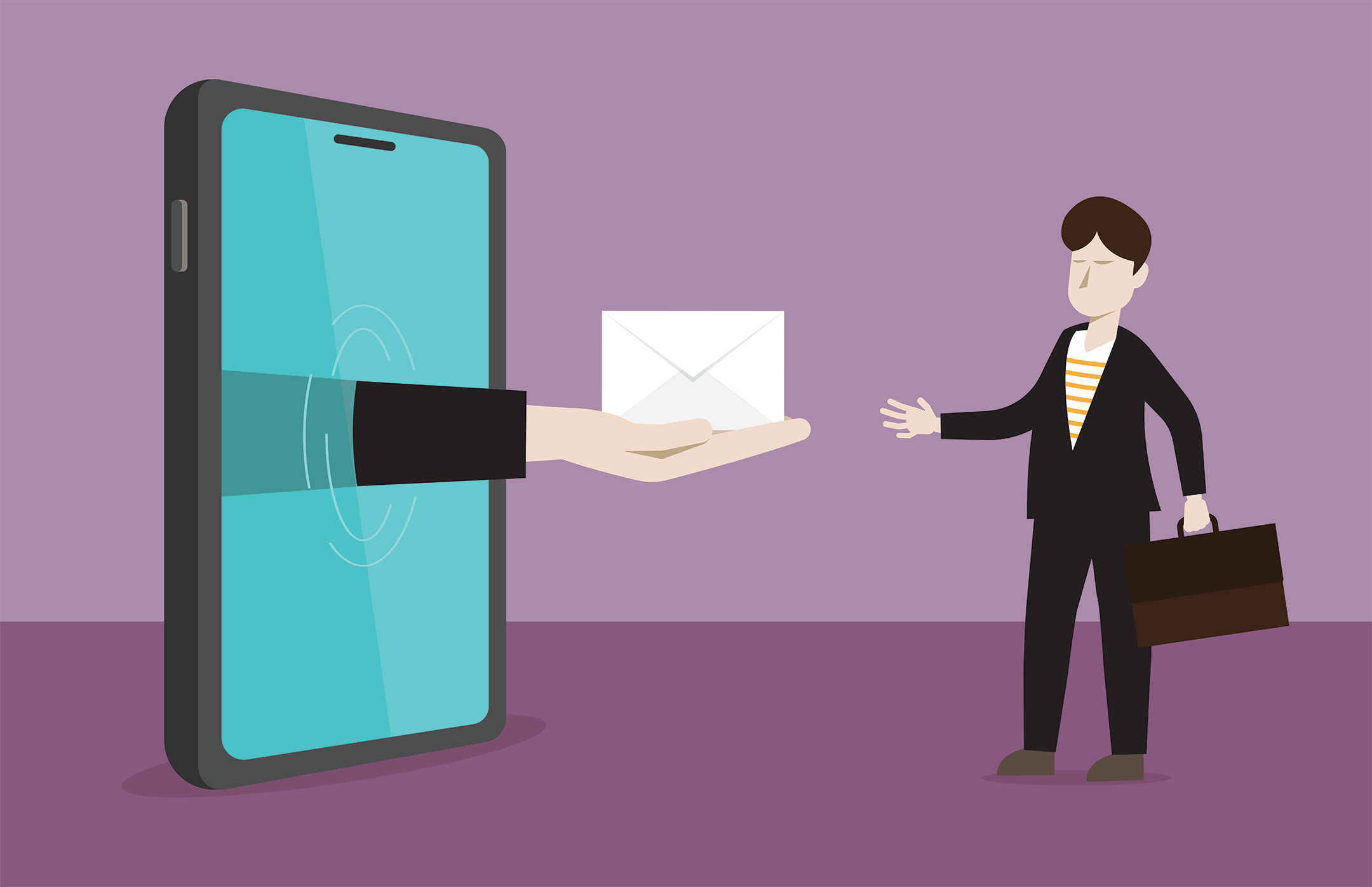 Illustration of a hand coming out of a large tablet screen holding an envelope for a cartoony man