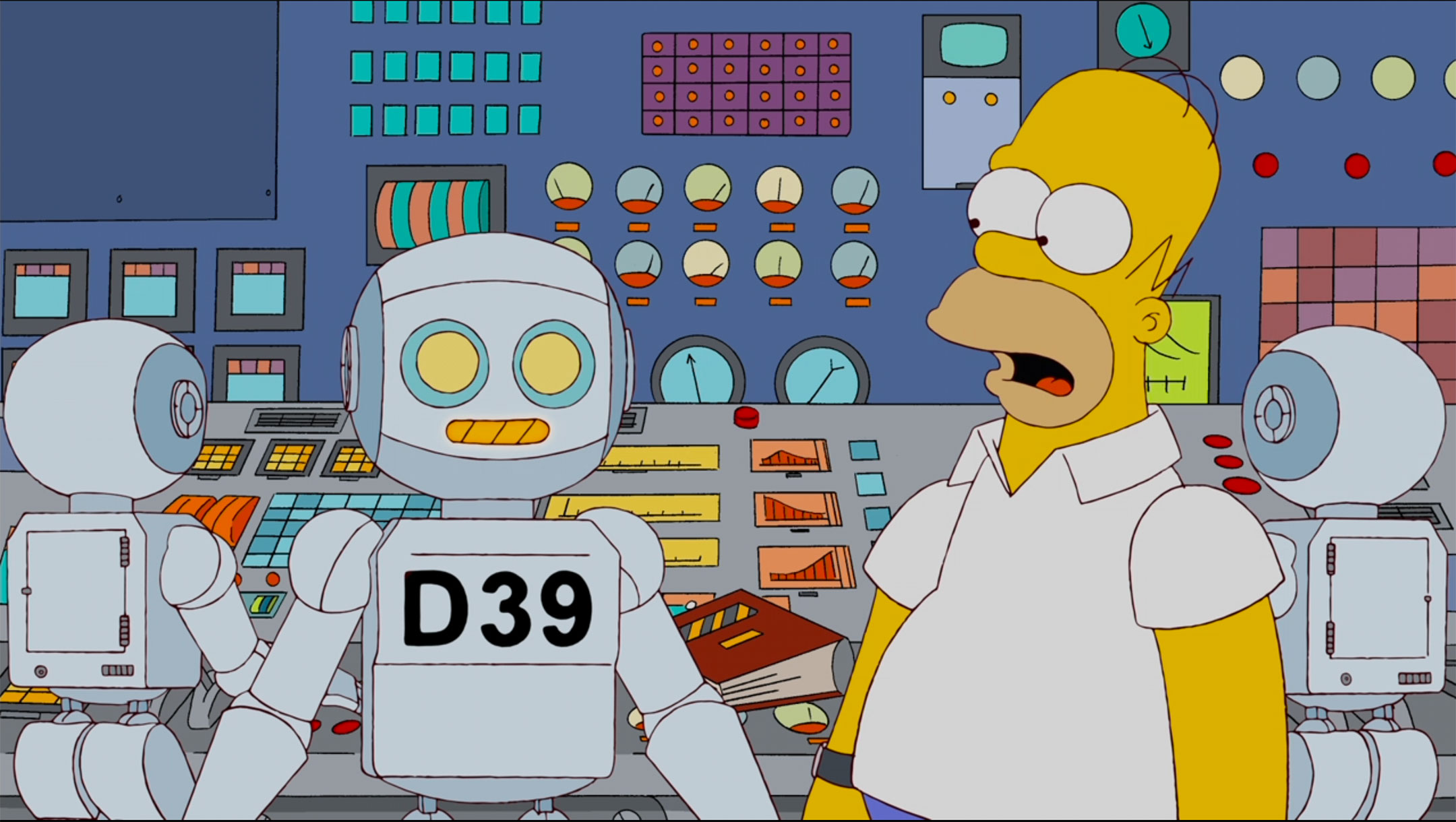 Screenshot from an episode of The Simpsons showing Homer working alongside a robot in the nuclear power plant