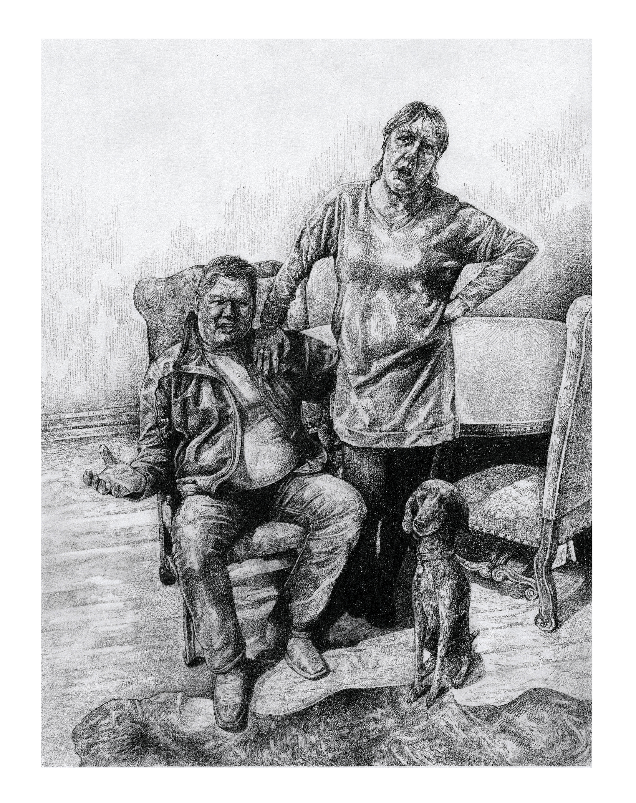 Black and white drawing of a man and a woman, the man sitting and the woman standing, with a dog at their feet