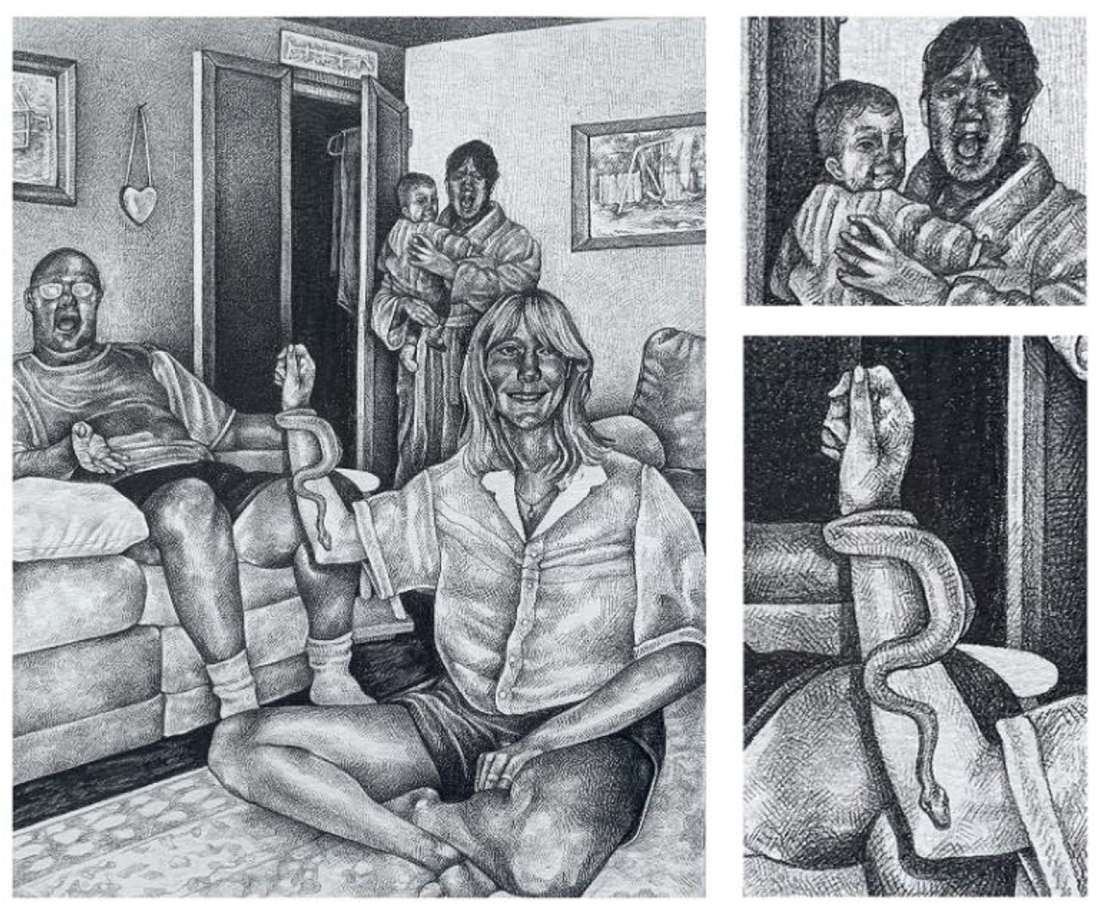 Black and white drawing of a family sitting in a living room, with a snake coiled around a woman's arm, with two images on the right, stacked, detailing a woman holding a baby on the top and the coiled snake on the bottom
