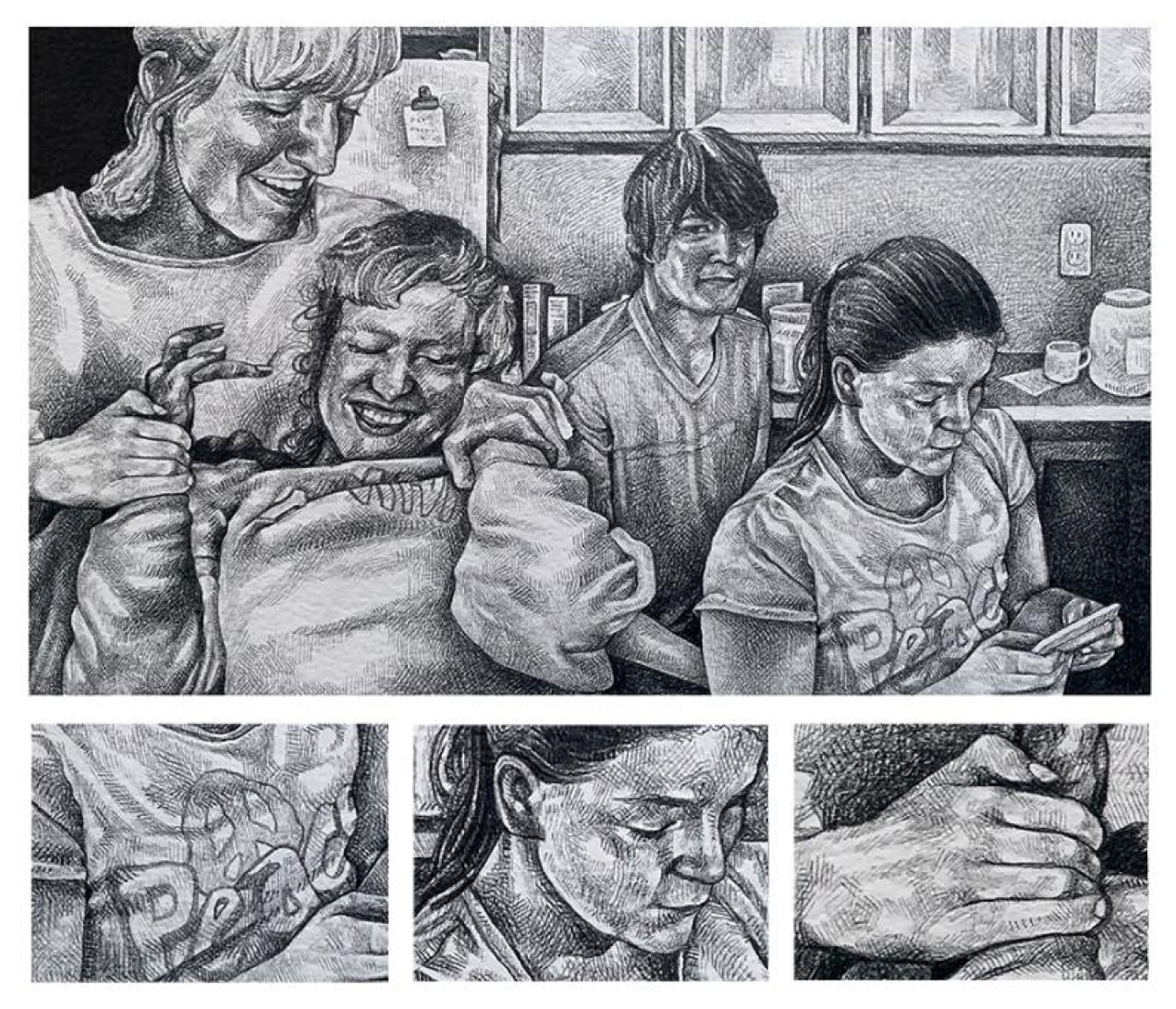 Black and white drawing of a family sitting at the kitchen table, with a row of three details below, of a t-shirt, a face, and a hand